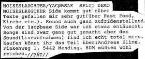 YACØPSÆ - ''Review aus dem SUPERFLUOUS # 1, 1992''
